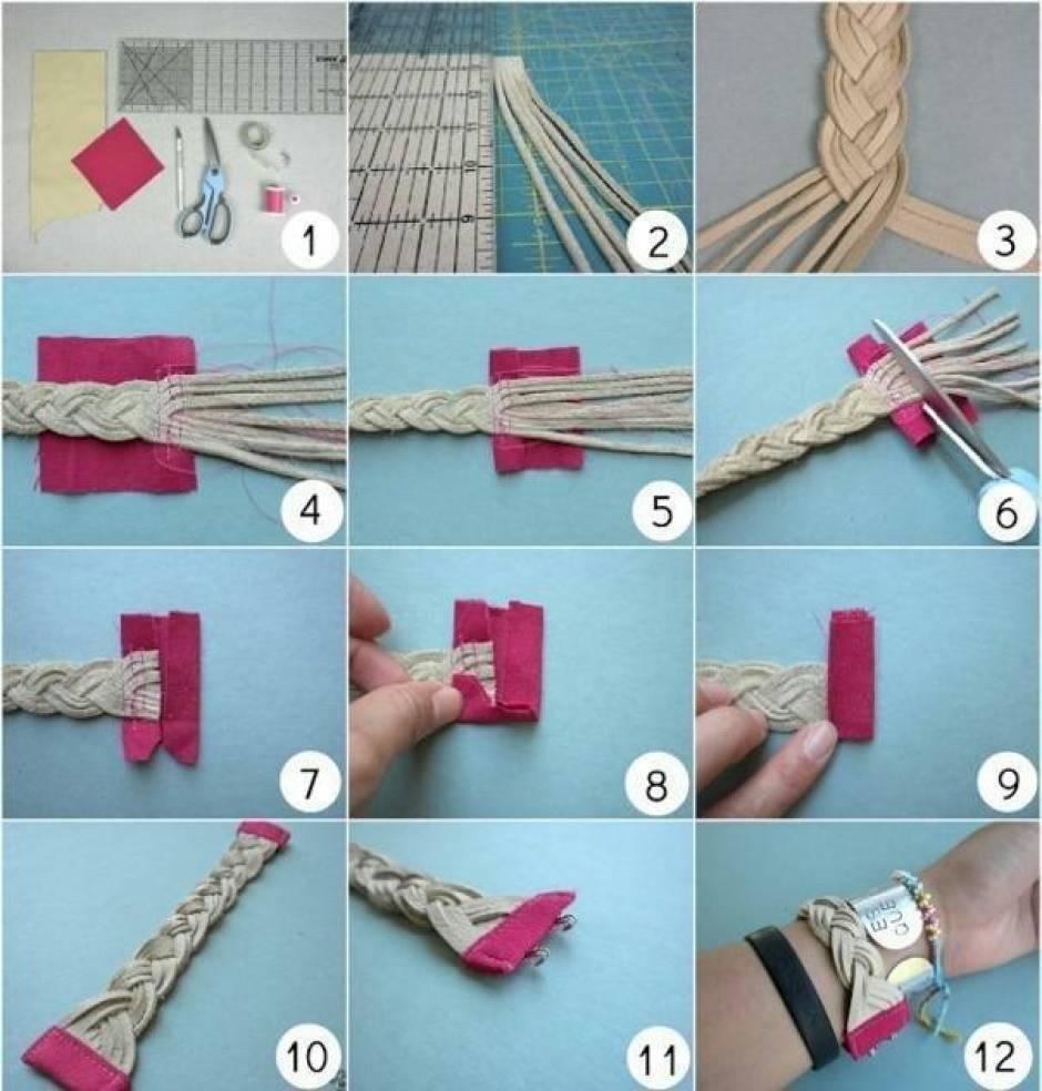 Схемы плетения из кожи фото